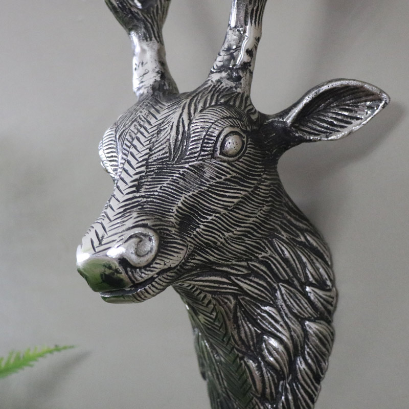 Replica Silver Metal Wall Mounted Stag Head