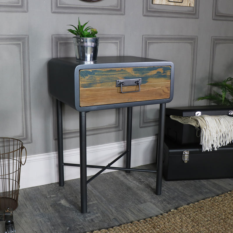 Retro Bed Side Table / Industrial  – Chicago Range