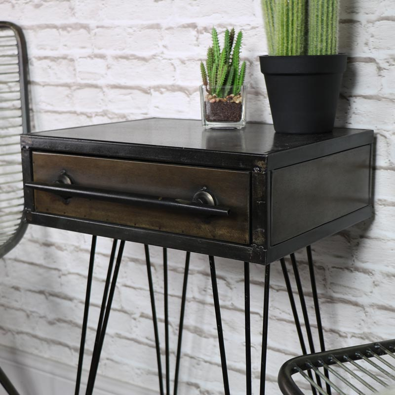 Retro Industrial Metal Bedside Table Melody Maison