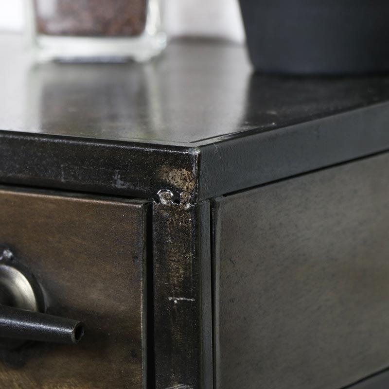 Retro Industrial Metal Bedside Table