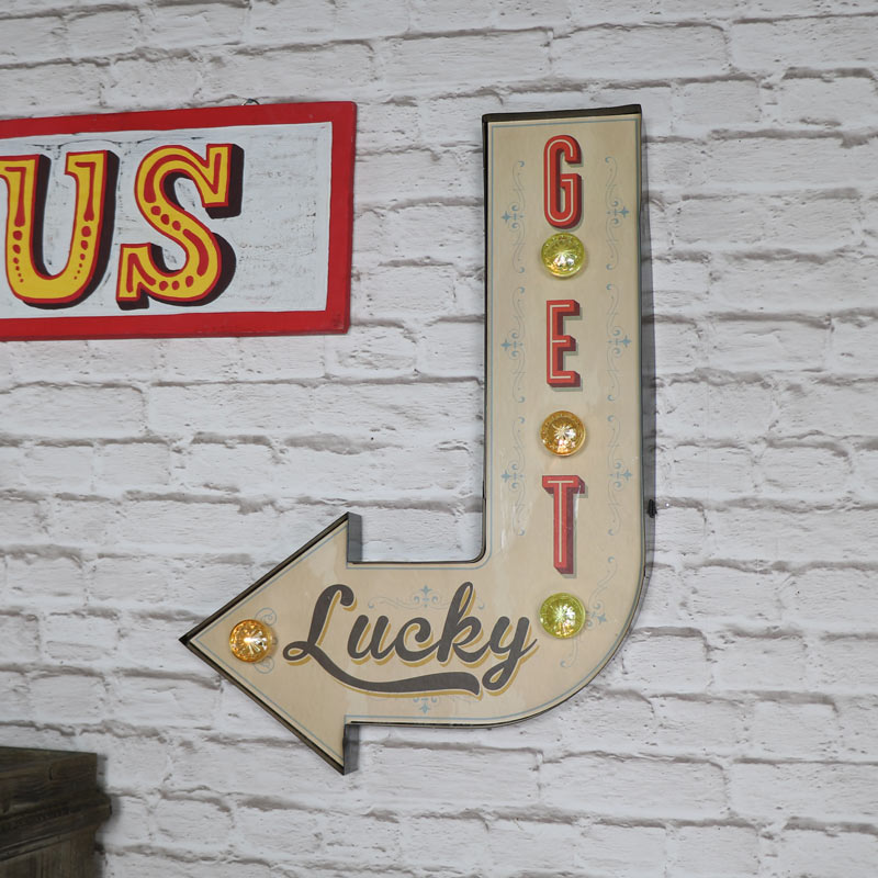 Retro LED 'Get Lucky' Carnival Wall Light