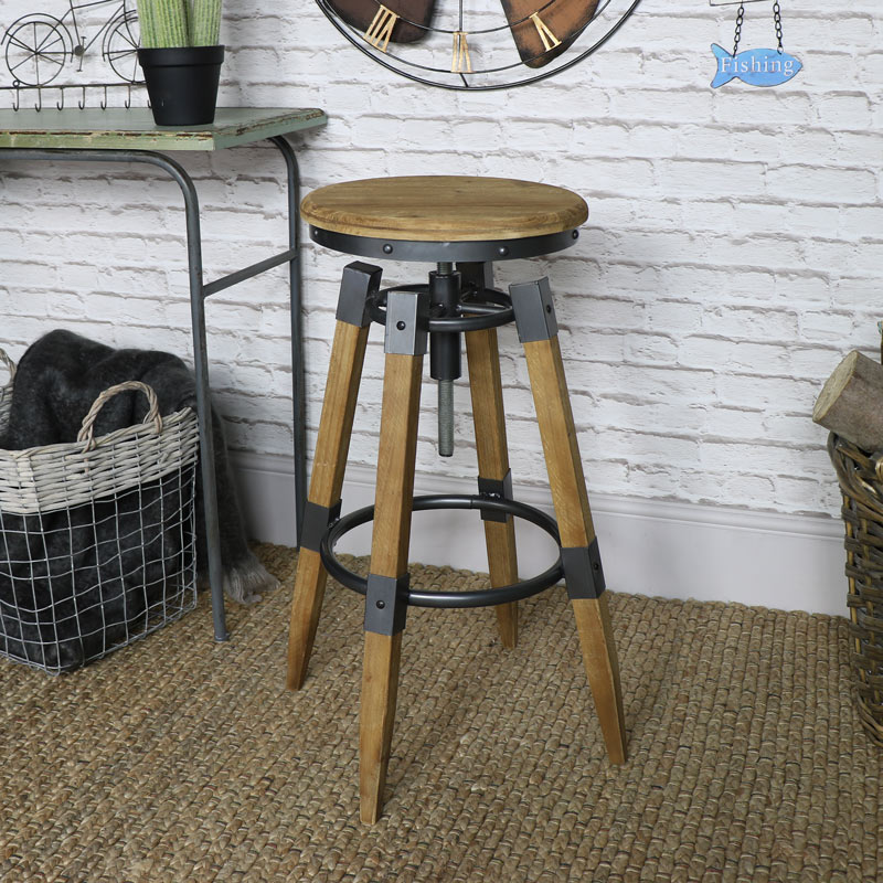 Retro Style Bar Stool with Adjustable Height
