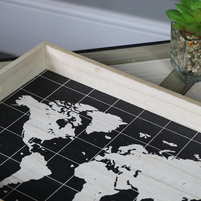 r tro carte du monde petit d jeuner plateau service majordomes bois naturel ebay. Black Bedroom Furniture Sets. Home Design Ideas