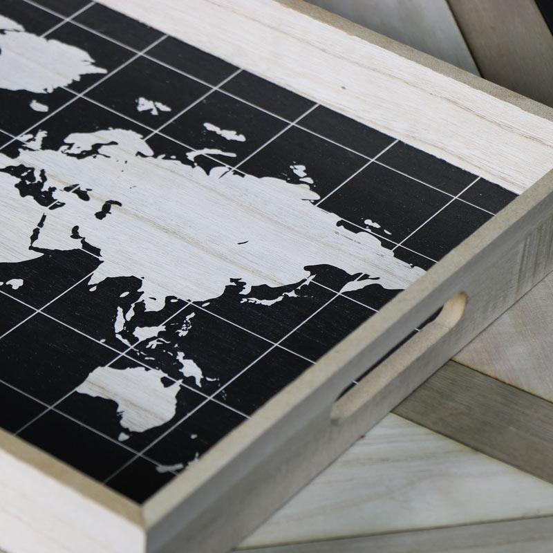 Retro World Map Breakfast Tray