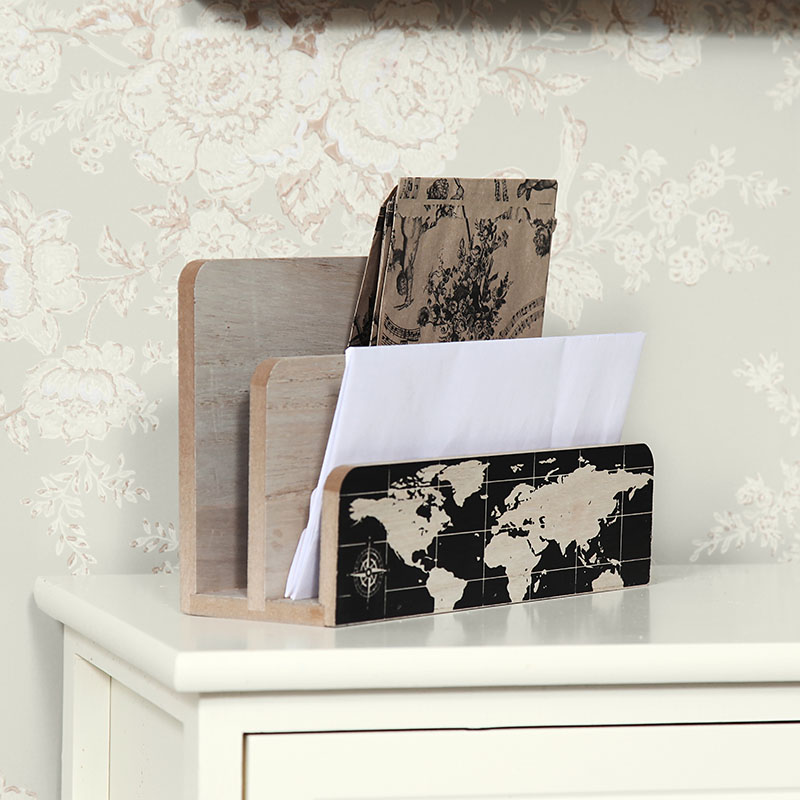 Retro World Map Letter Rack