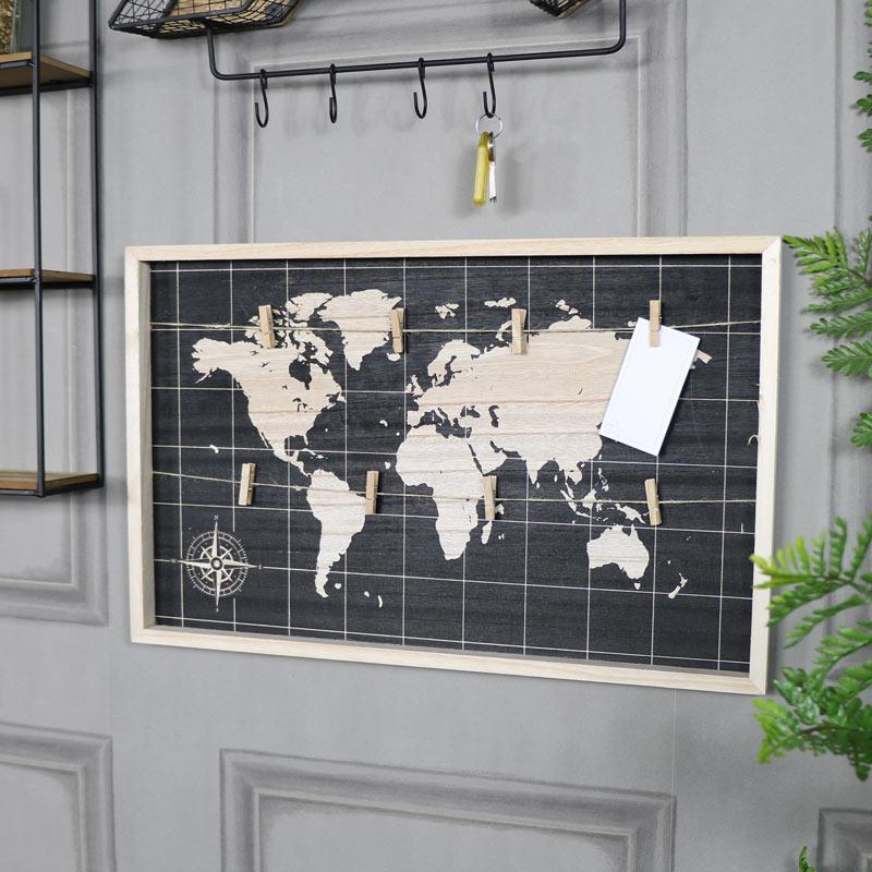 Retro World Map Peg Memo Board