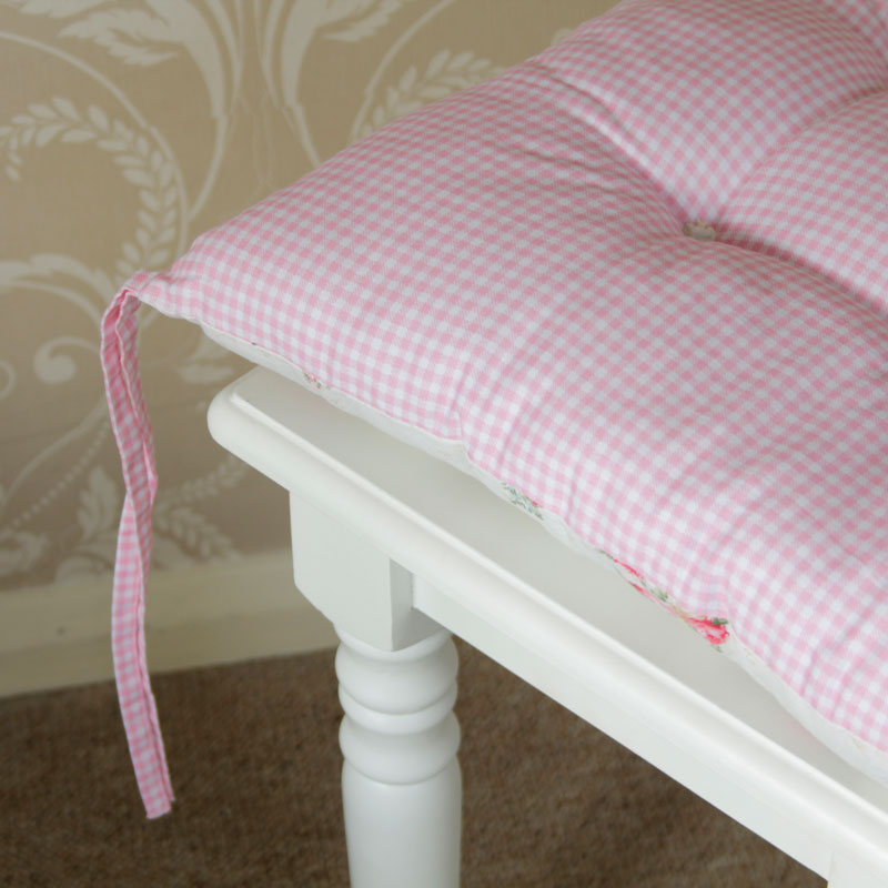 Gingham Pink Rose Vintage Chic Seat PAD Chair Dining Room Cottage Shabby Cush