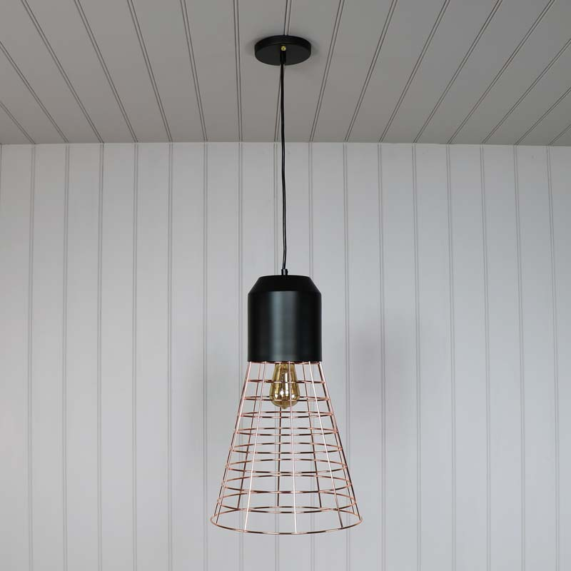 Rose Gold Wire Industrial Style Pendant Light Melody Maison