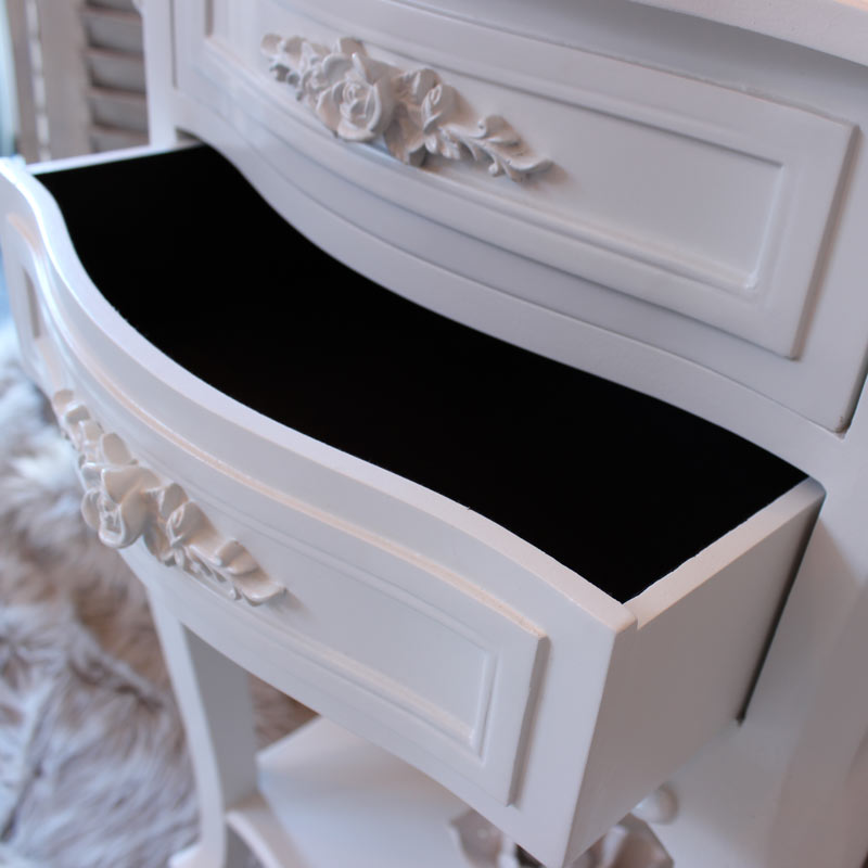 Rose Range - Furniture Bundle, Dressing Table Mirror & Stool Set, Chest of Drawers & Bedside Table