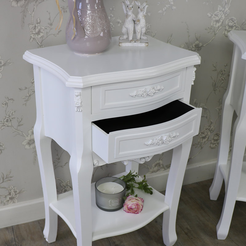 Rose Range - Furniture Bundle, Pair of White 2 Drawer Bedside Table