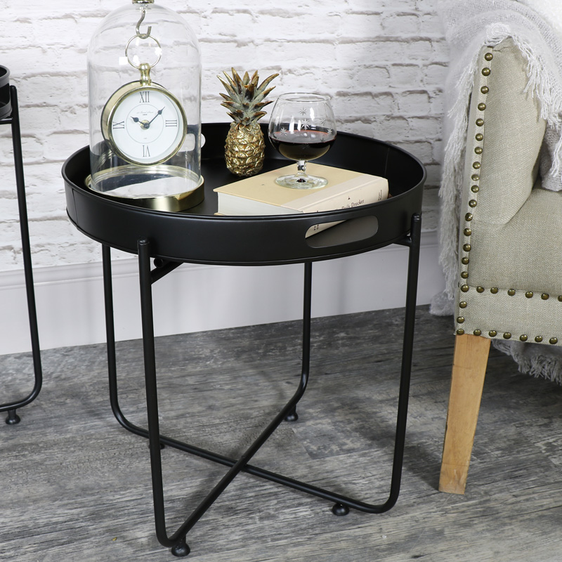 Round Black Butlers Serving Tray Table