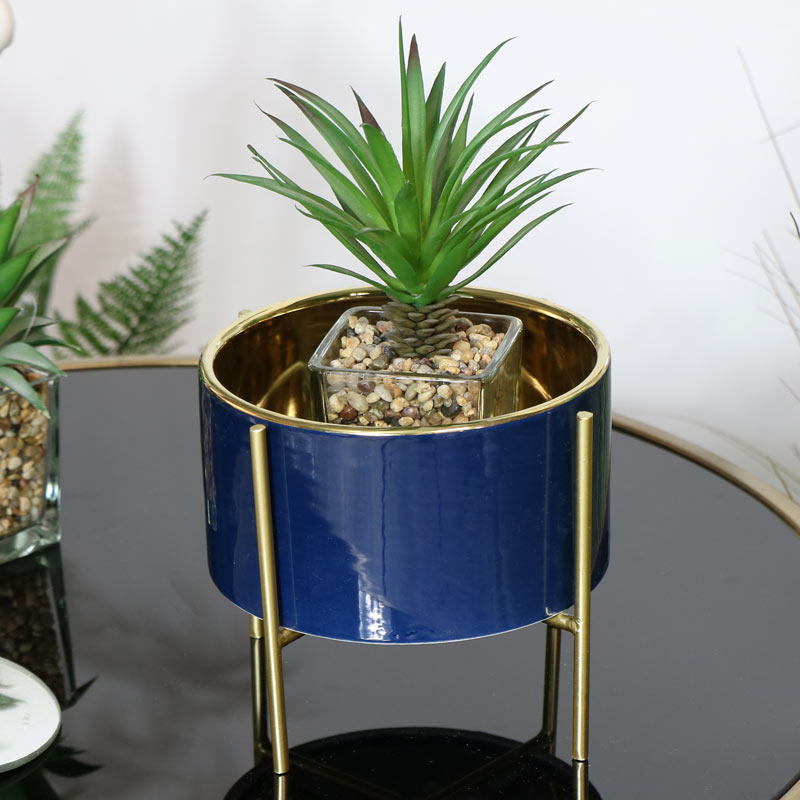 Round Blue Planter on Stand