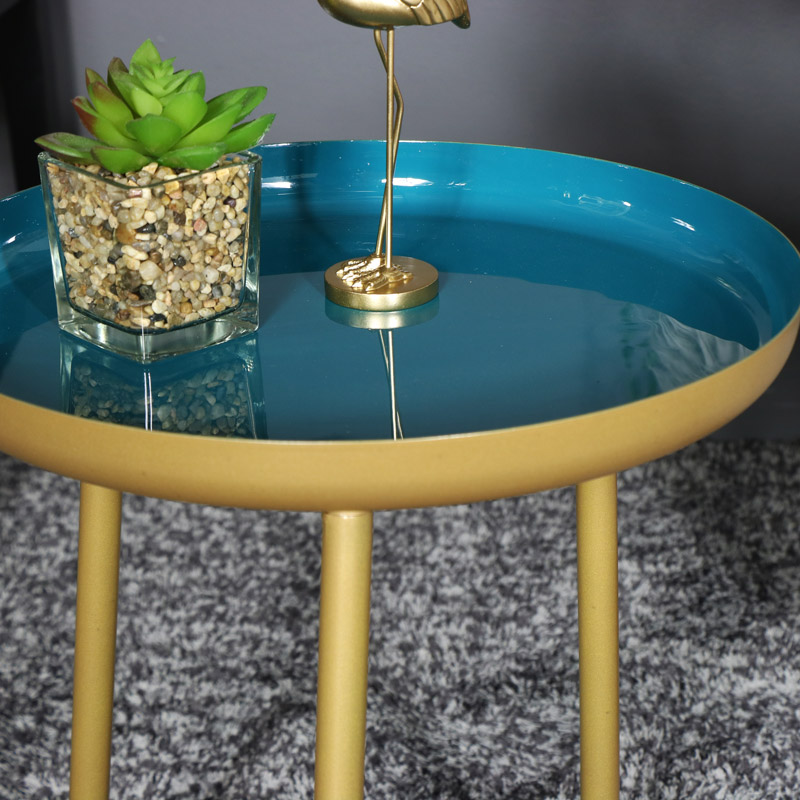 Round Gold and Teal Side Table