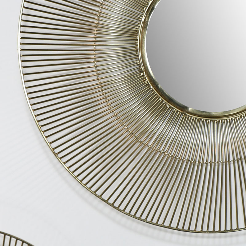 Round Gold Wire Mirror - Large 51.2cm x 51.2cm