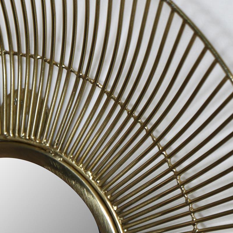 Round Gold Wire Mirror - Small