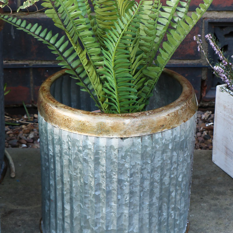 Round Grey Metal Industrial Style Planter