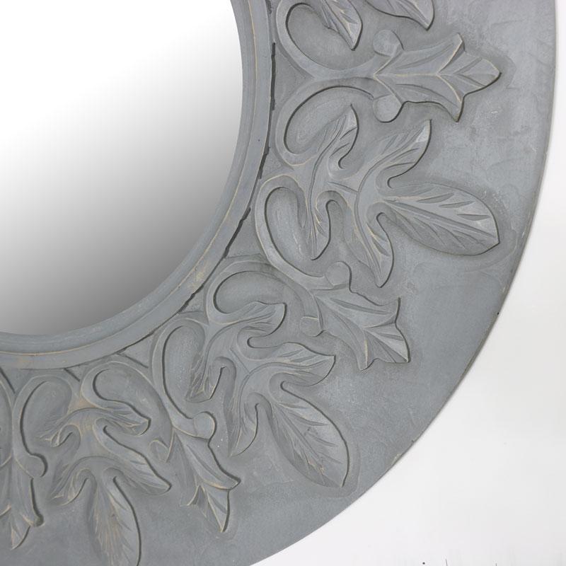 Round Grey Wall Mirror with Fleur de Lis 90cm x 90cm