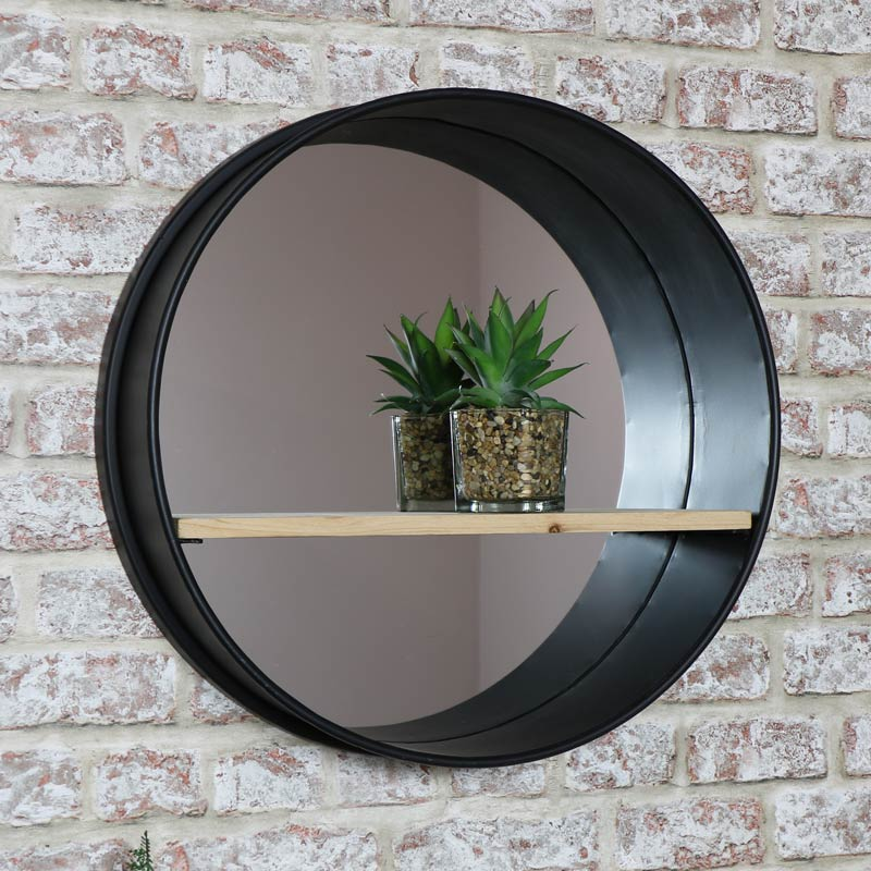 Round Wall Mirror with Shelf and Industrial Metal Frame 49cm x 49cm