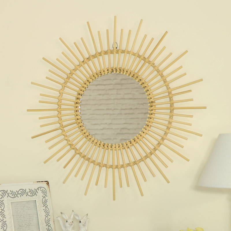 Round Natural Rattan Sunburst Wall Mirror
