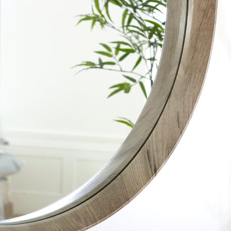Round Natural Wood Framed Wall Mirror, Round Wood Frame Mirror Uk