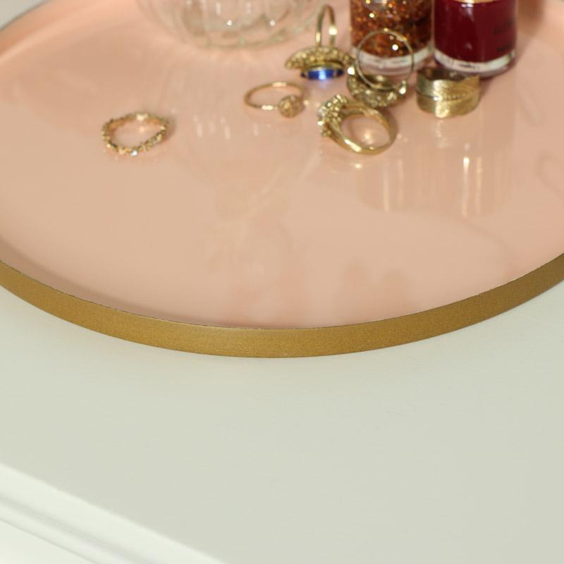 Round Pink Metal Display Tray