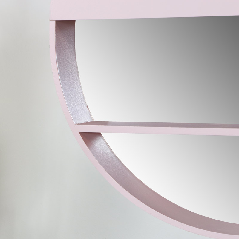 Round Pink Mirrored Wall Shelf Display Unit