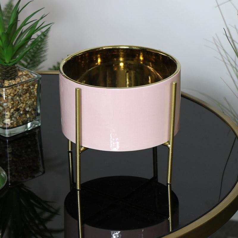 Round Pink Planter on Stand