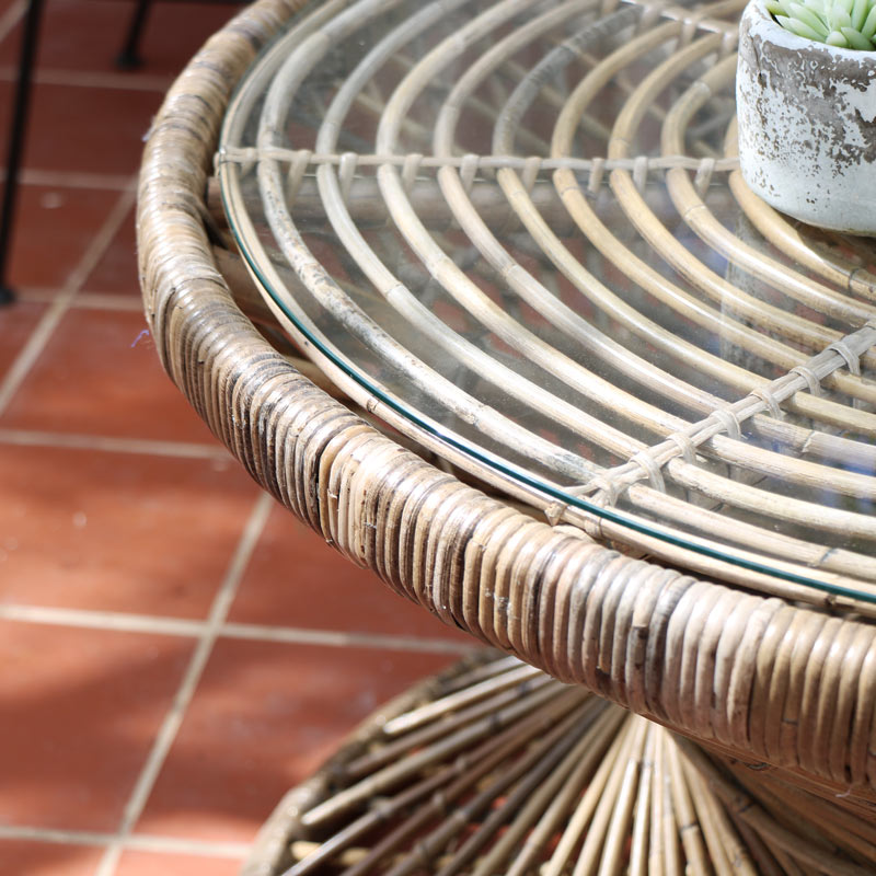Round Rattan Twisted Coffee Table with Glass Top
