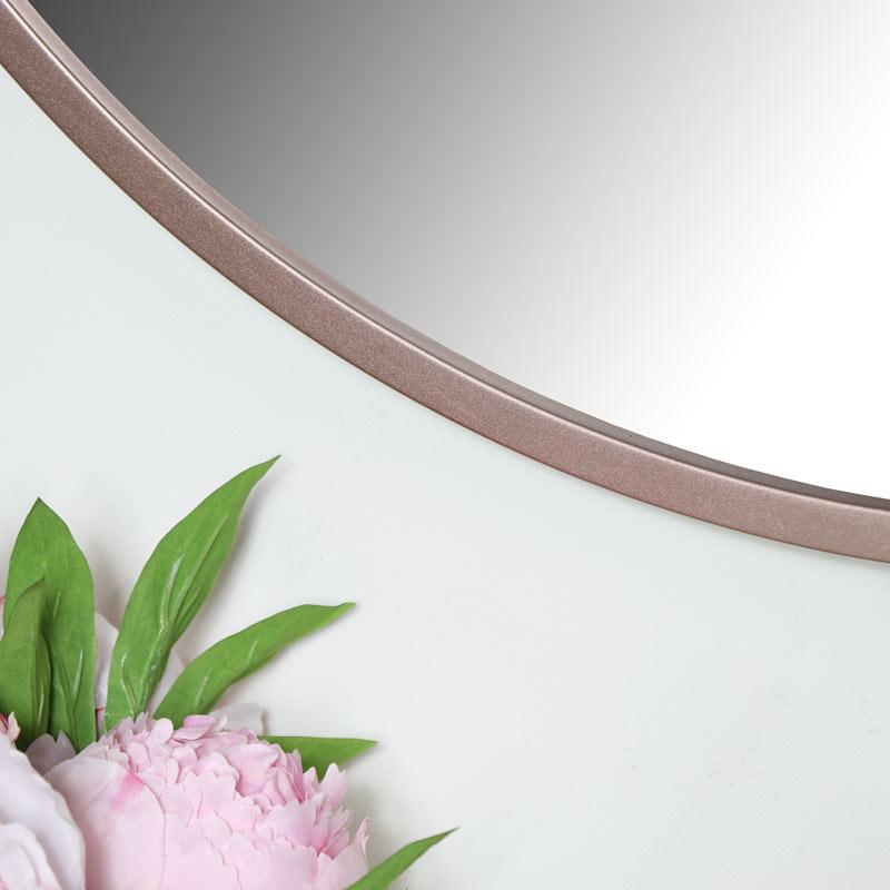 Round Rose Gold Pink Wall Mirror 80cm x 80cm