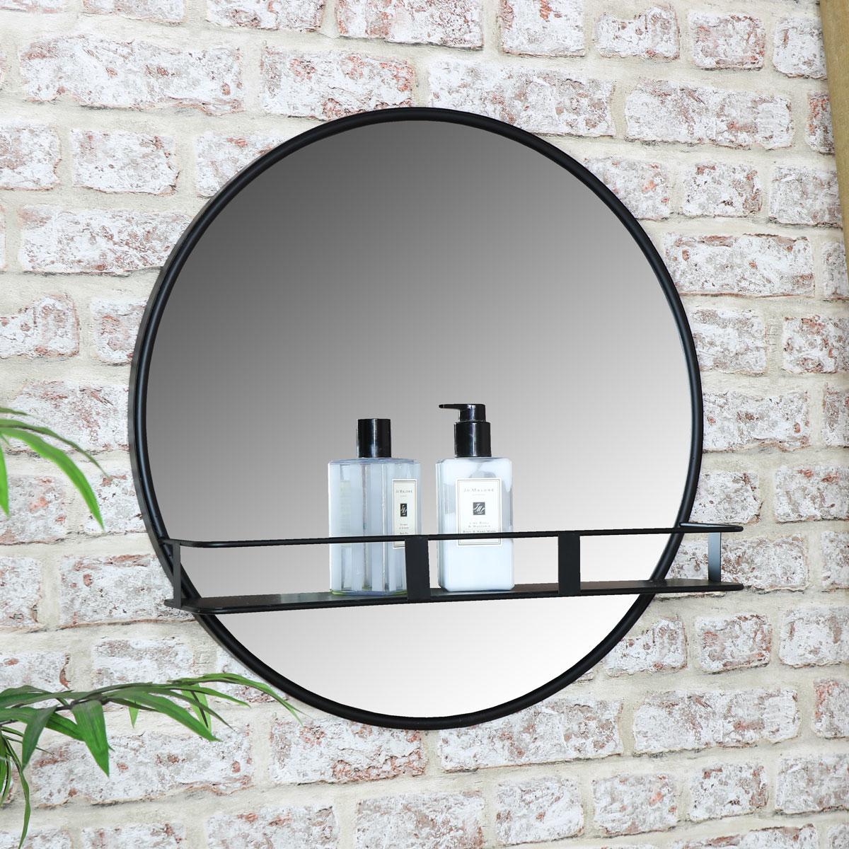 Round Wall Mirror With Shelf, Round Mirror With A Shelf
