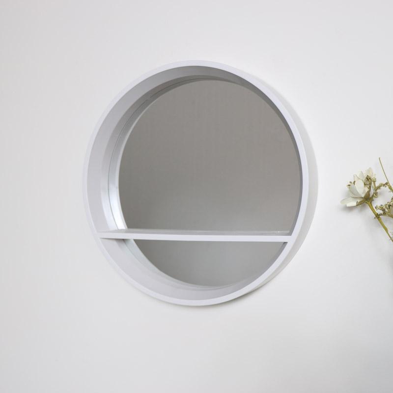 Round White Mirrored Shelf Unit Melody Maison