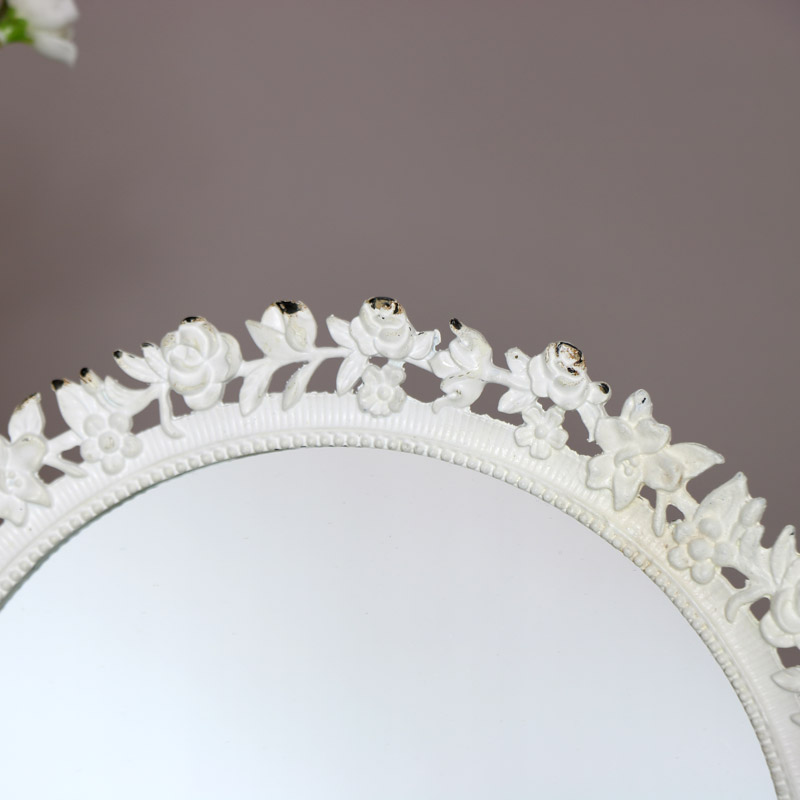 Round White Rose Vanity Mirror