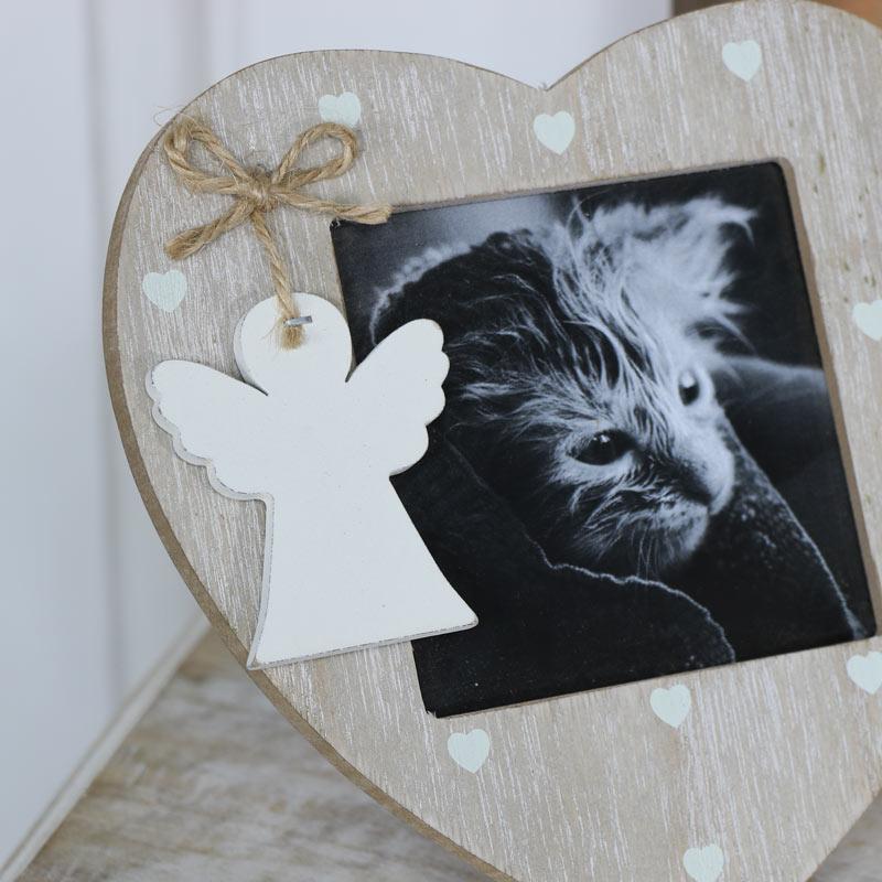 Rustic Angel Heart Freestanding Photograph Frame