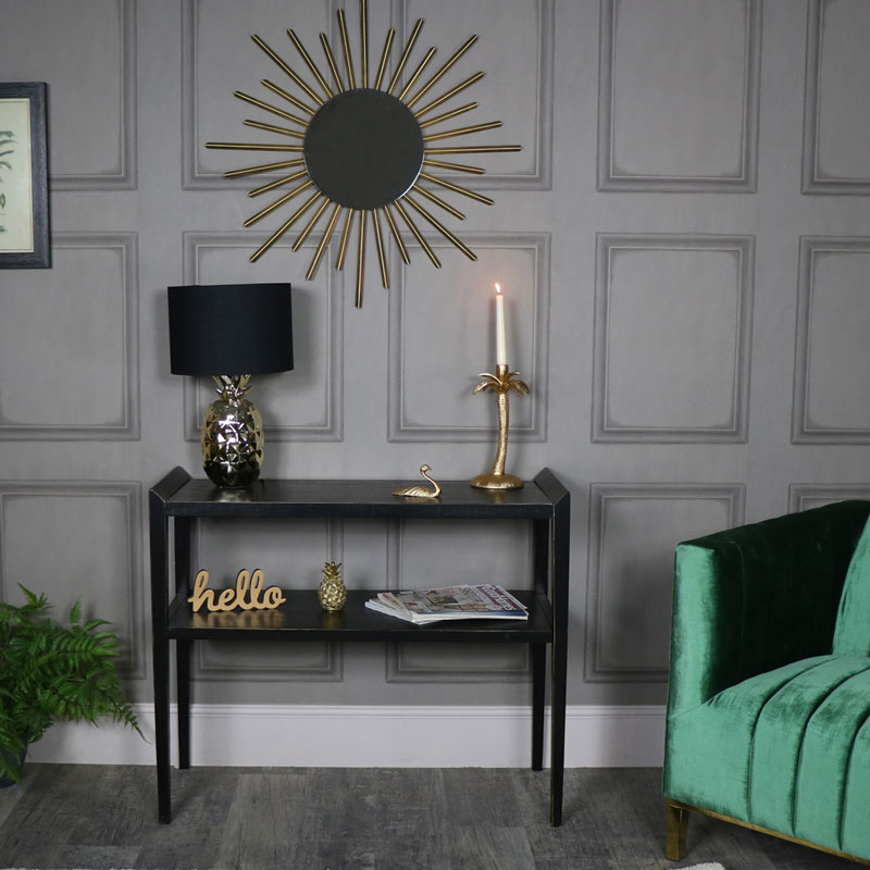 Rustic Black Wooden Console Table - Mika Range