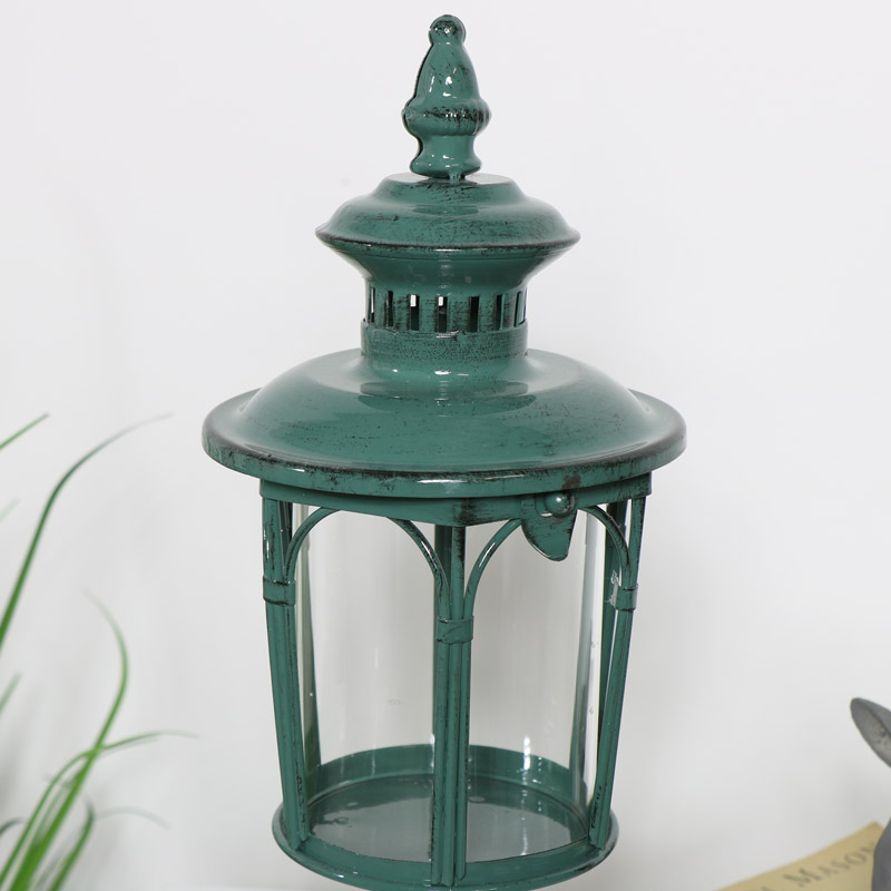 Rustic Green Metal Candle Lantern