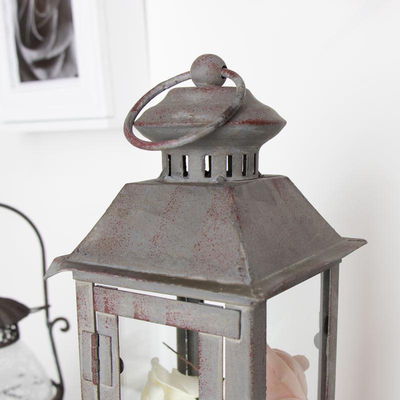 Rustic Grey Metal Candle Lantern