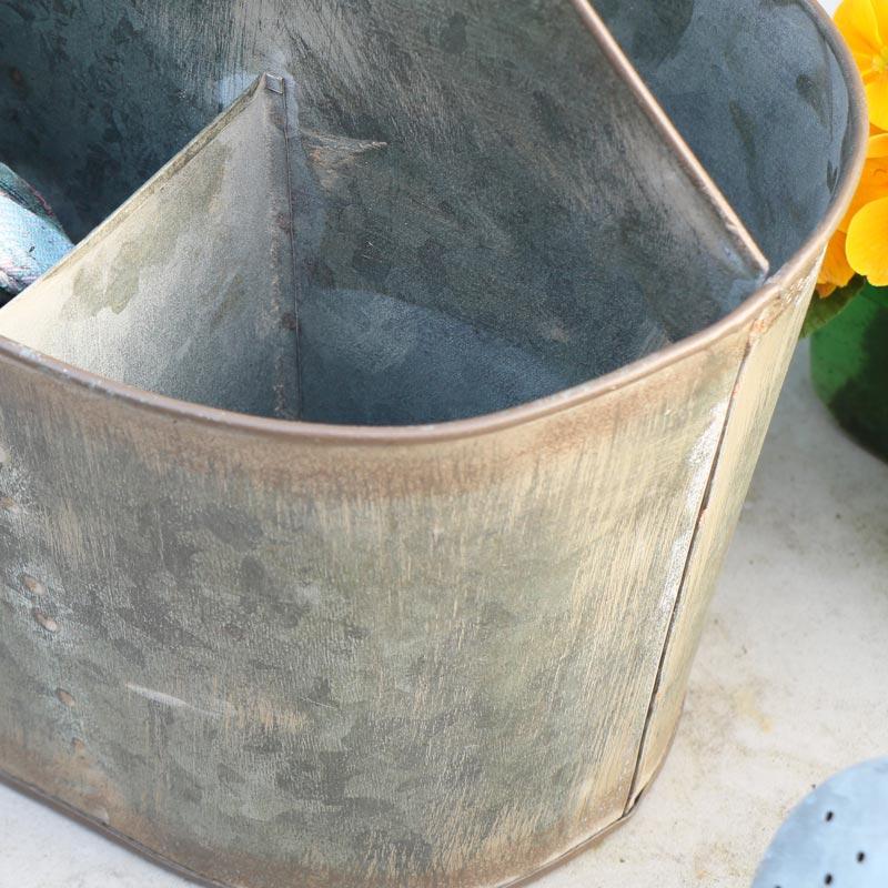 Rustic Grey Metal Garden Carrier