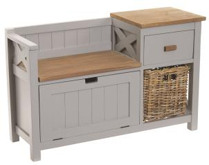 Rustic Grey Wooden Hall Bench with Storage