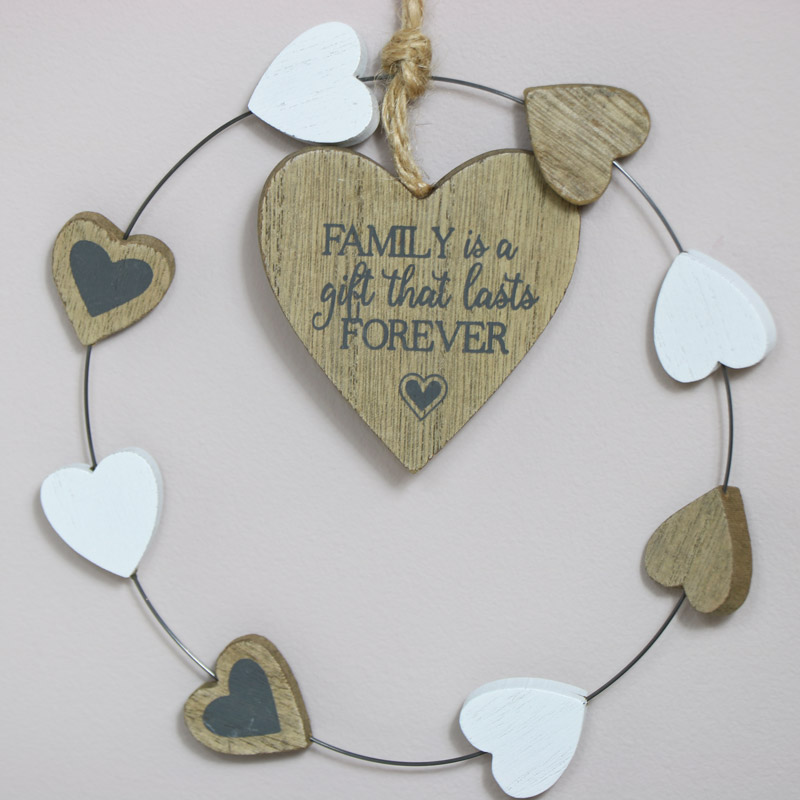 Rustic Hanging Heart Family Plaque