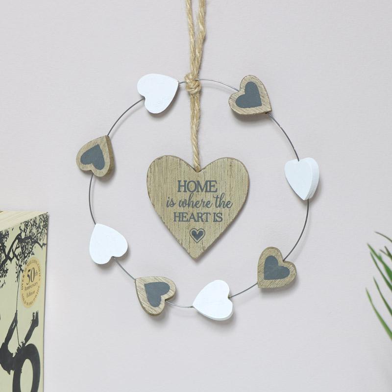 Rustic Hanging Heart Home Plaque