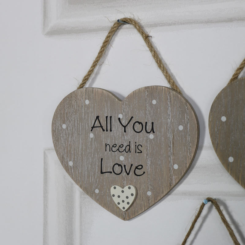 """Rustic Hanging Heart Plaque """"All You Need is Love"""""""