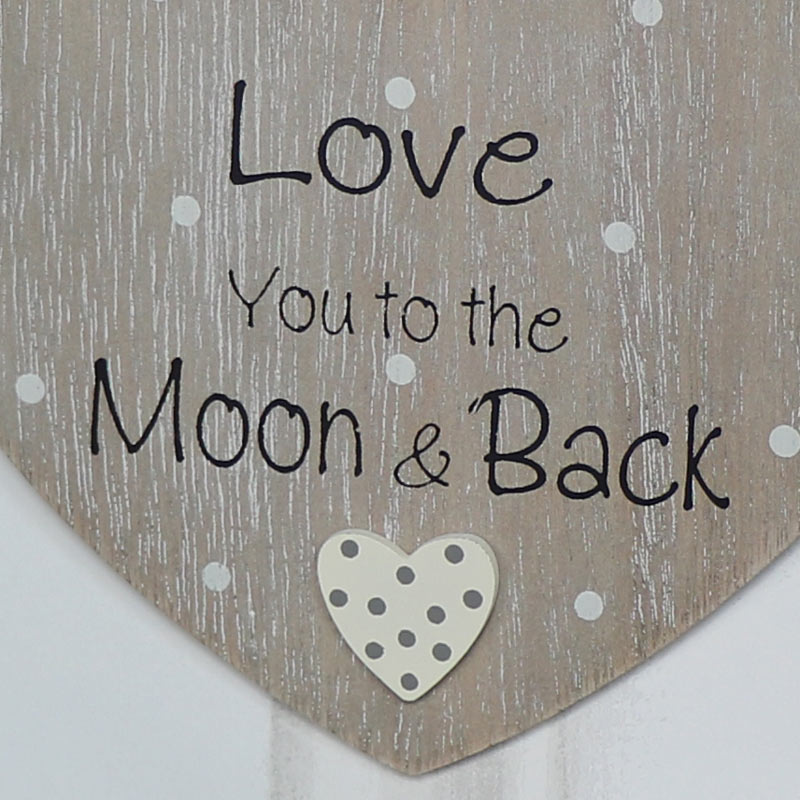 """Rustic Hanging Heart Plaque """"Love You to the Moon..."""""""