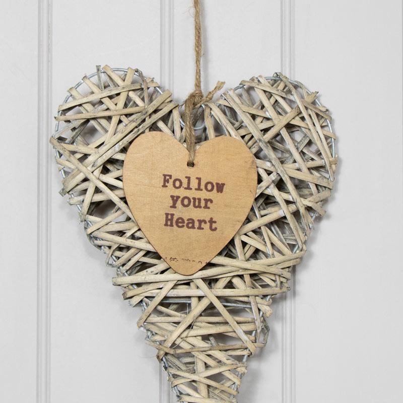 Rustic Hanging Wicker Heart - Follow Your Heart