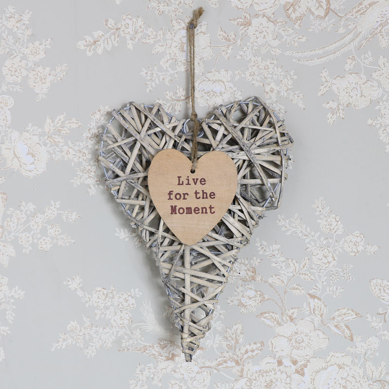 Rustic Hanging Wicker Heart - Live for the Moment