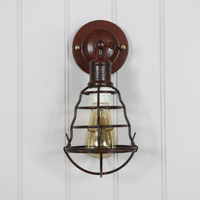 Rustic Industrial Cage Metal Wall Light