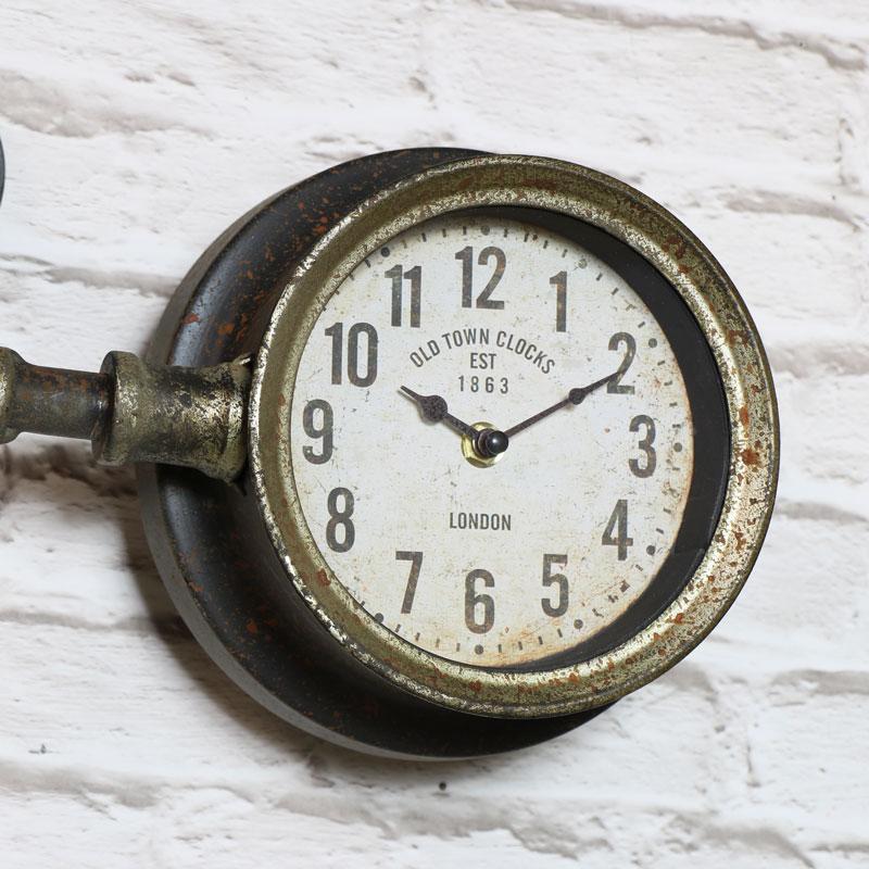 Rustic Industrial Pipework Wall Clock