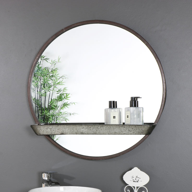 Rustic Industrial Round Mirror With Shelf 60cm X 60cm Melody Maison