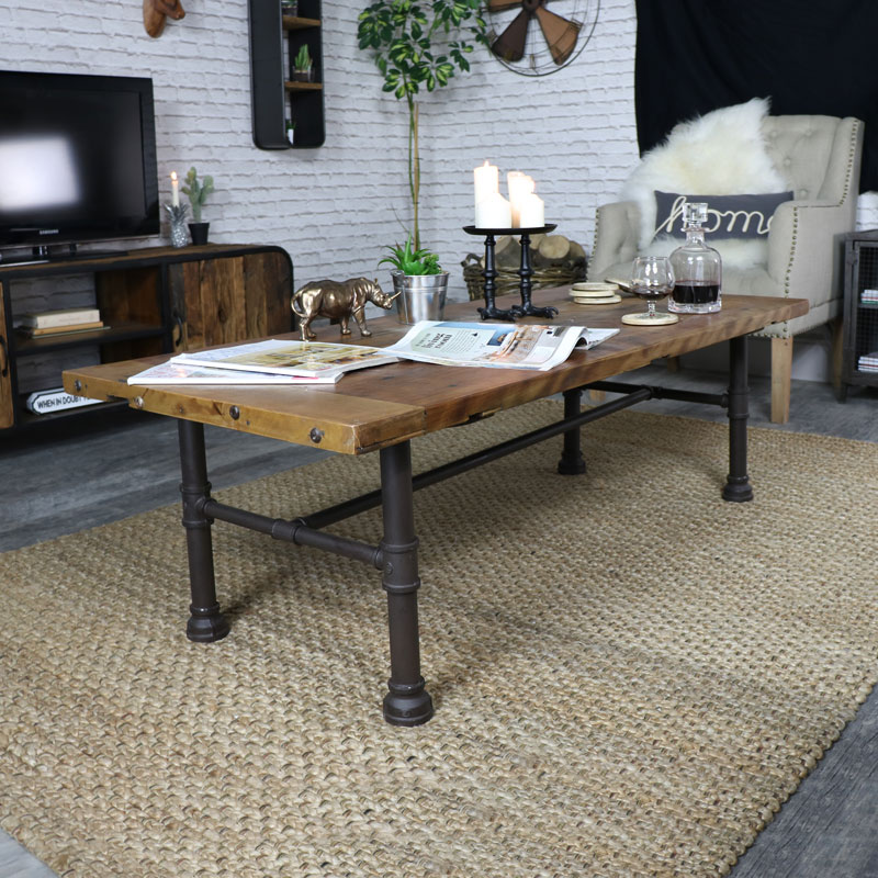 Captivating Rustic Industrial Style Coffee Table ...