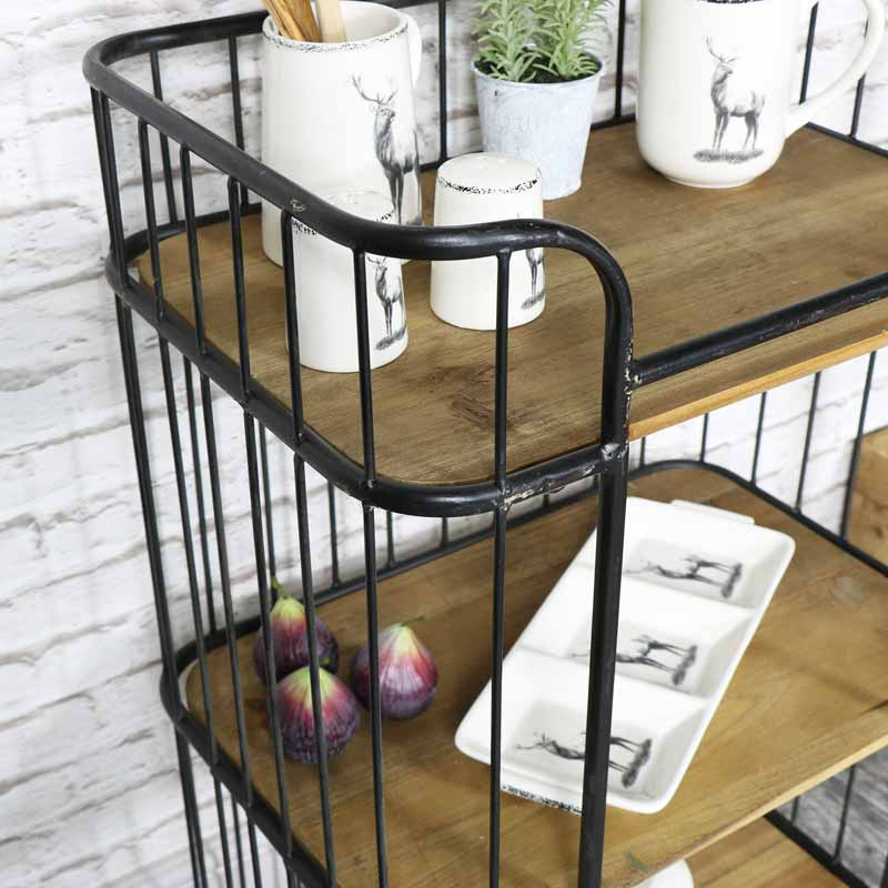 Top Rustic Industrial Style Trolley with Shelves - Melody Maison® UG22