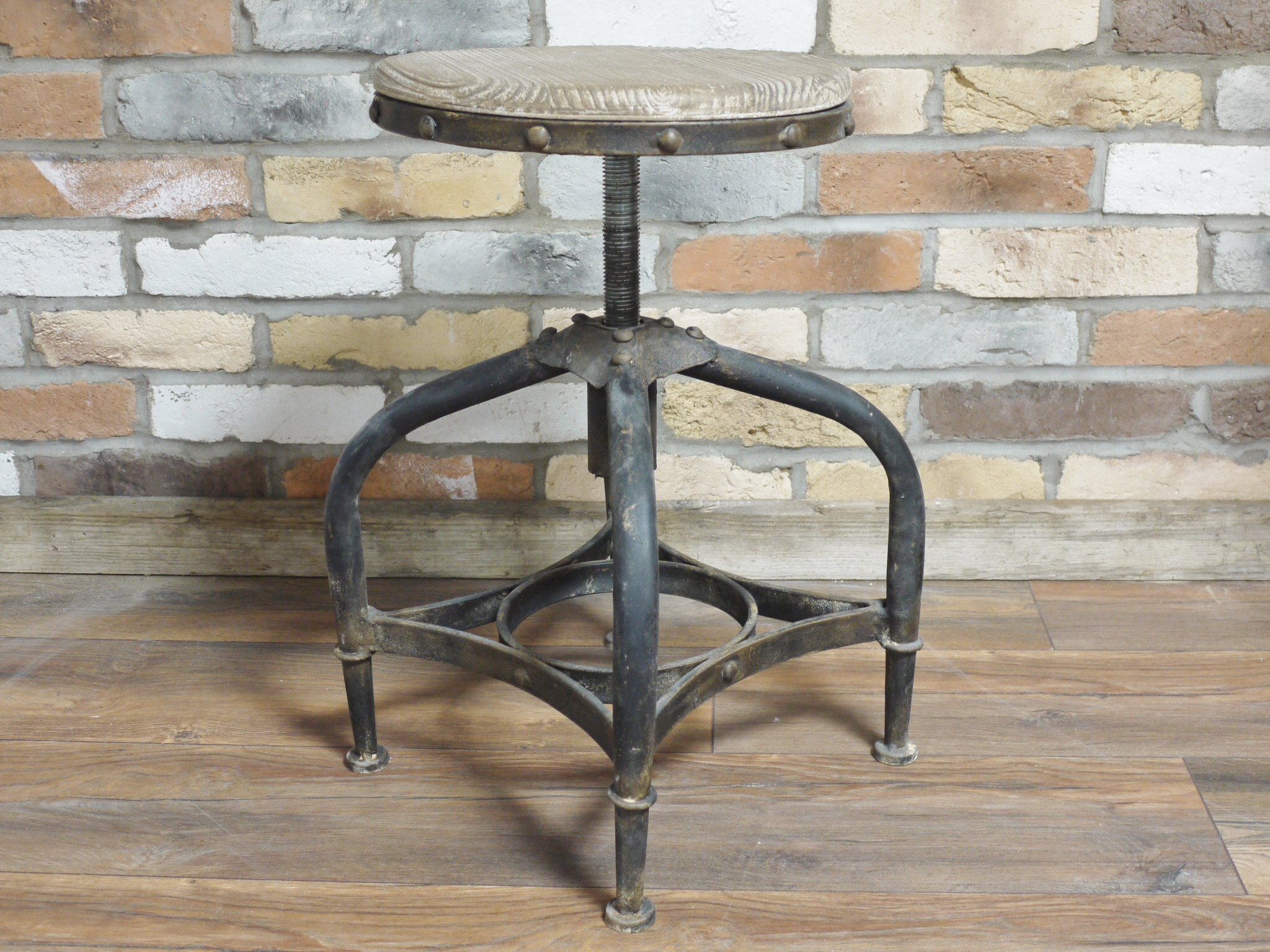 Rustic Metal Bar Stool With Adjustable Wooden Seat